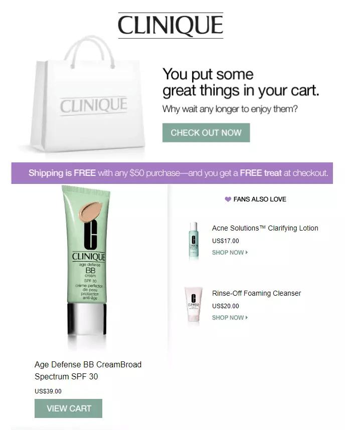 Clinique мотивирует добавить товары на сумму $50 в корзину, чтобы воспользоваться бесплатной доставкой
