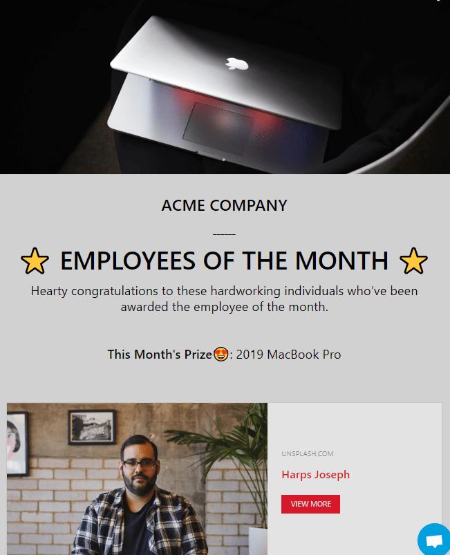 Сотрудник месяца получает в награду Макбук. Хороший стимул для остальных работать ещё лучше, чтобы победить в следующий раз