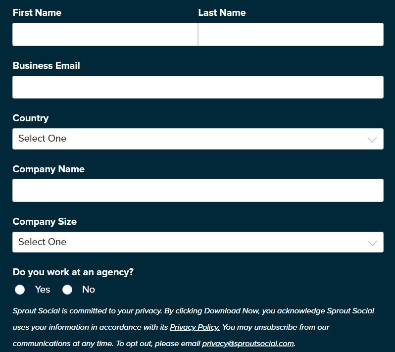 Пример расширенной формы подписки на SproutSocial
