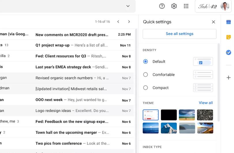 Новые упрощенные настройки отображения в Gmail