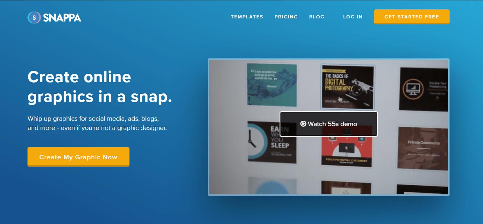 Призыв к действию от сервиса Snappa — «Создать мою графику сейчас»