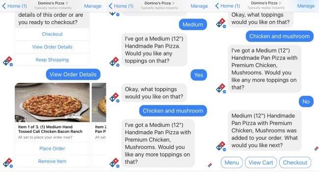 Dom Pizza Bot принимает заказы Domino's Pizza