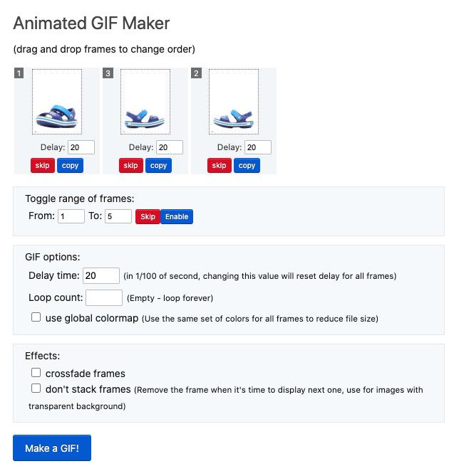 Интерфейс Ezgif позволяет загружать и обрабатывать до 2 000 изображений
