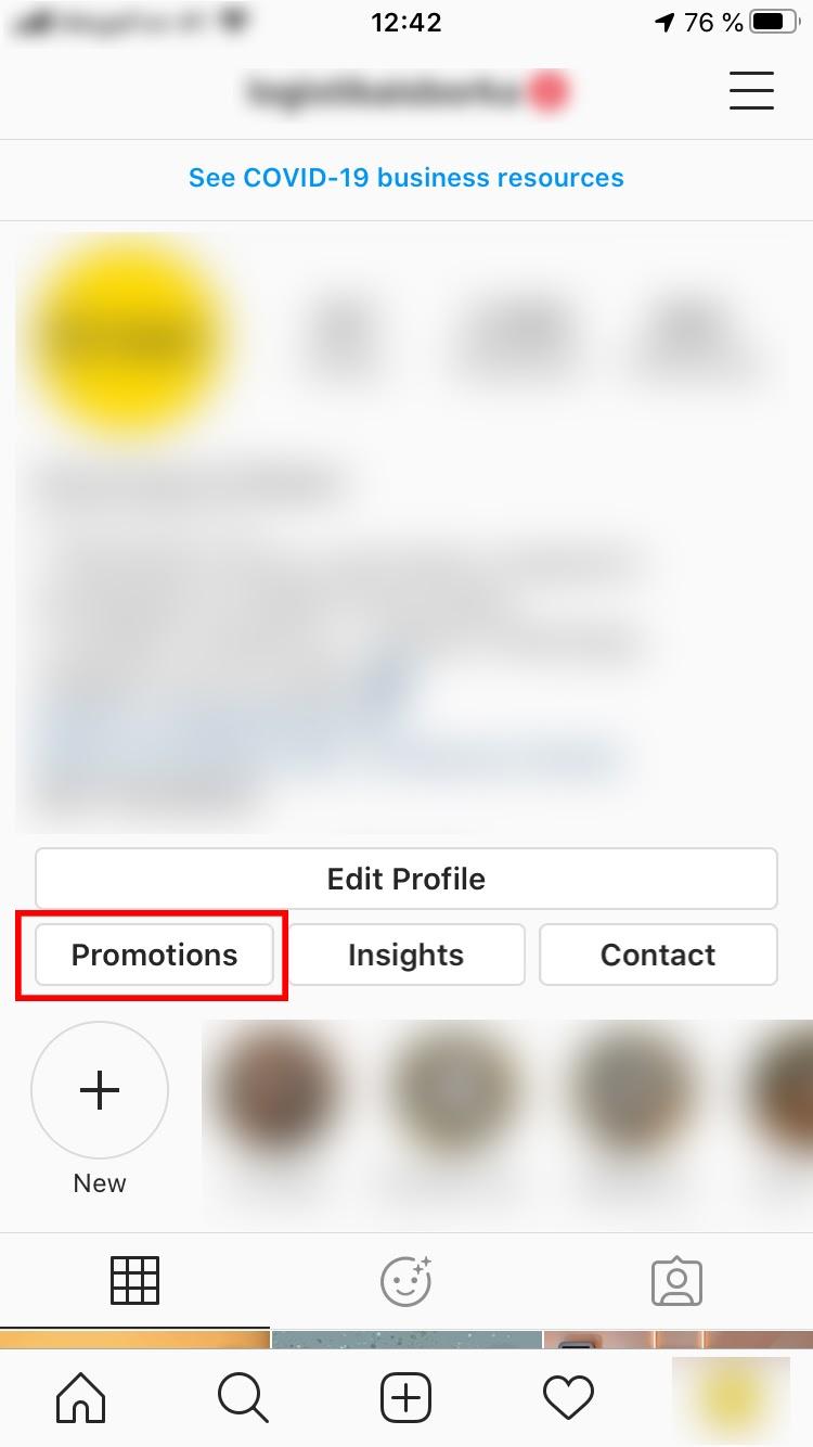 Кнопка «Promote» доступна только в бизнес-аккаунте