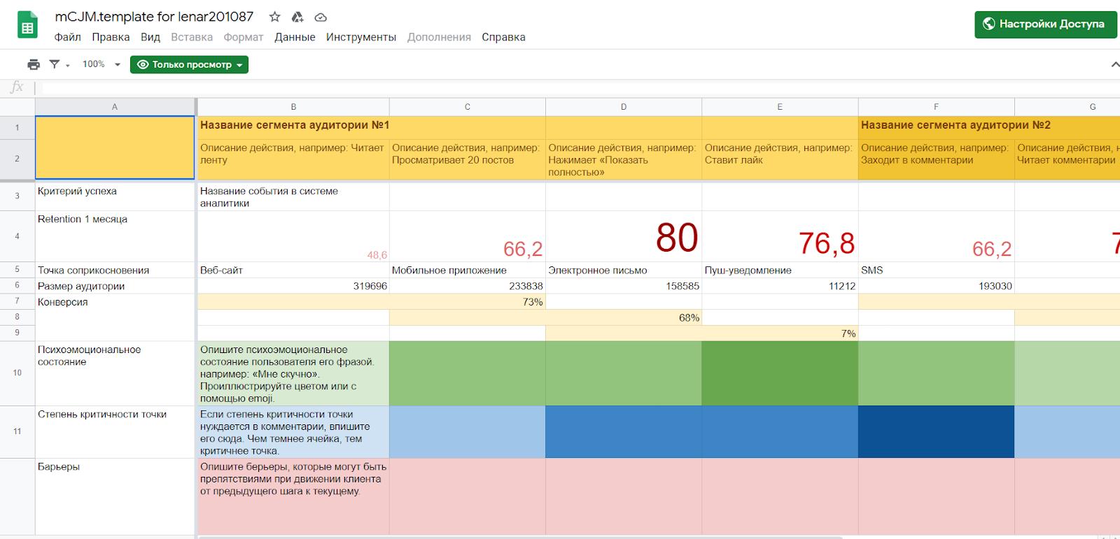 А это мой шаблон для создания пути клиента в Google-таблицах
