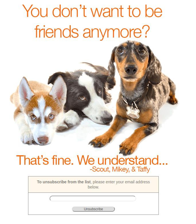 Грустные собачки на странице отписки — моветон