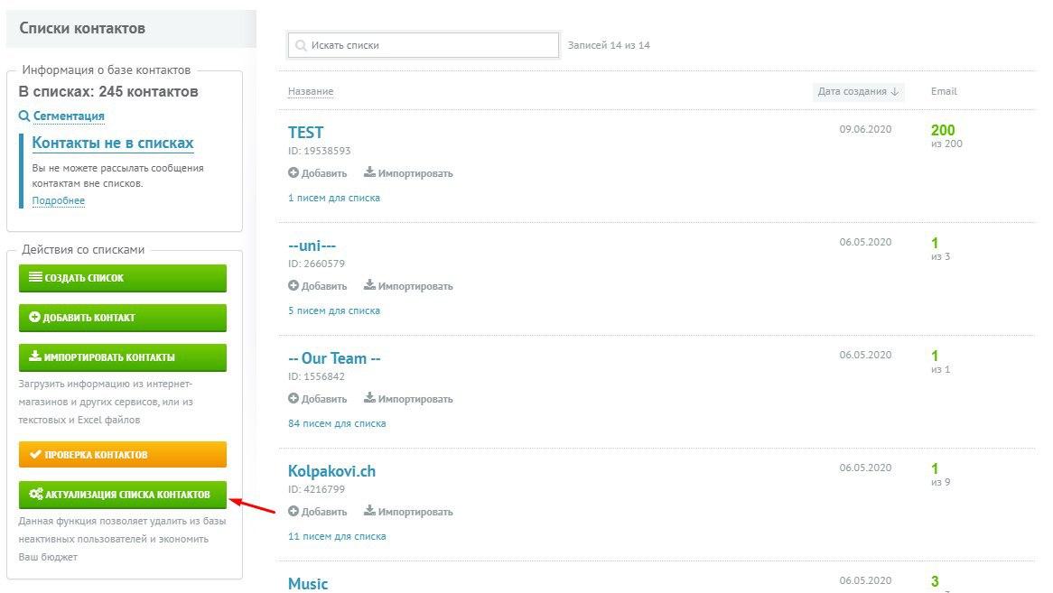 Кнопка «Актуализация списка контактов» удаляет из базы несуществующие ящики, которые нашлись после рассылки