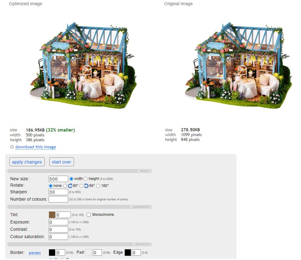 Сервис сам подбирает длину и ширину изображения при сжатии. В случае с PNG он уменьшил картинку почти в 2 раза. Но ещё интереснее, что если сохранить размер оригинала, то вес картинки станет больше на 220%