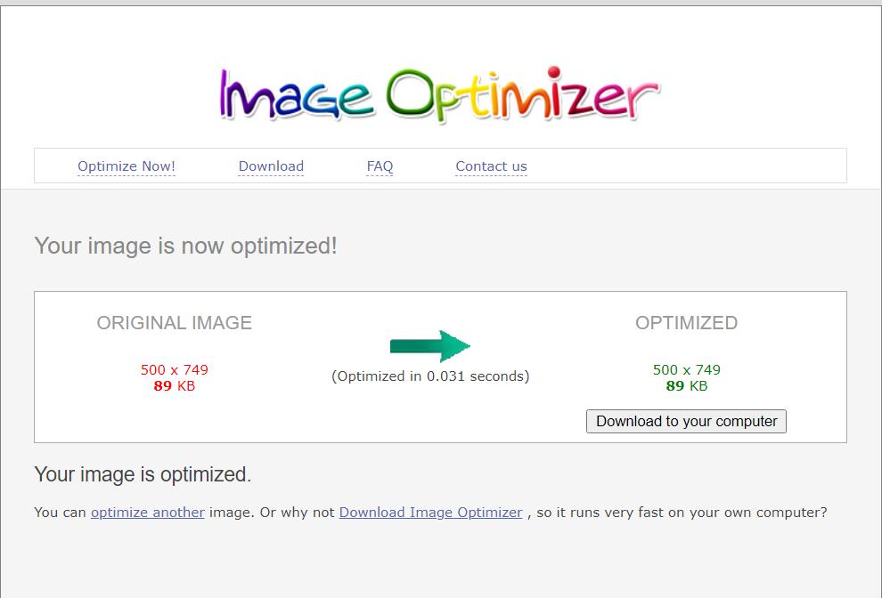 Сервис утверждает, что оптимизировал мою картинку, но на деле её вес не изменился