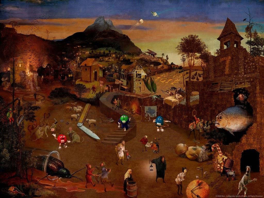 Залипательная картинка от M&M's. Особенно для фанатов фильмов ужасов. Попробуйте отыскать все 50 зашифрованных фильмов