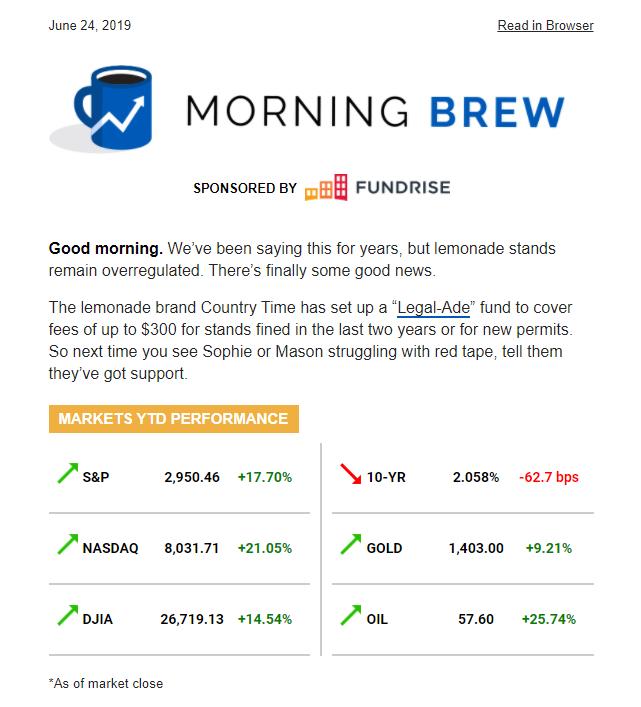 Рассылка Morning Brew начинается с небольшого приветствия и инфографики с колебанием курса разных акций и биржевых индексов. Дальше идут статьи об экономике и бизнесе