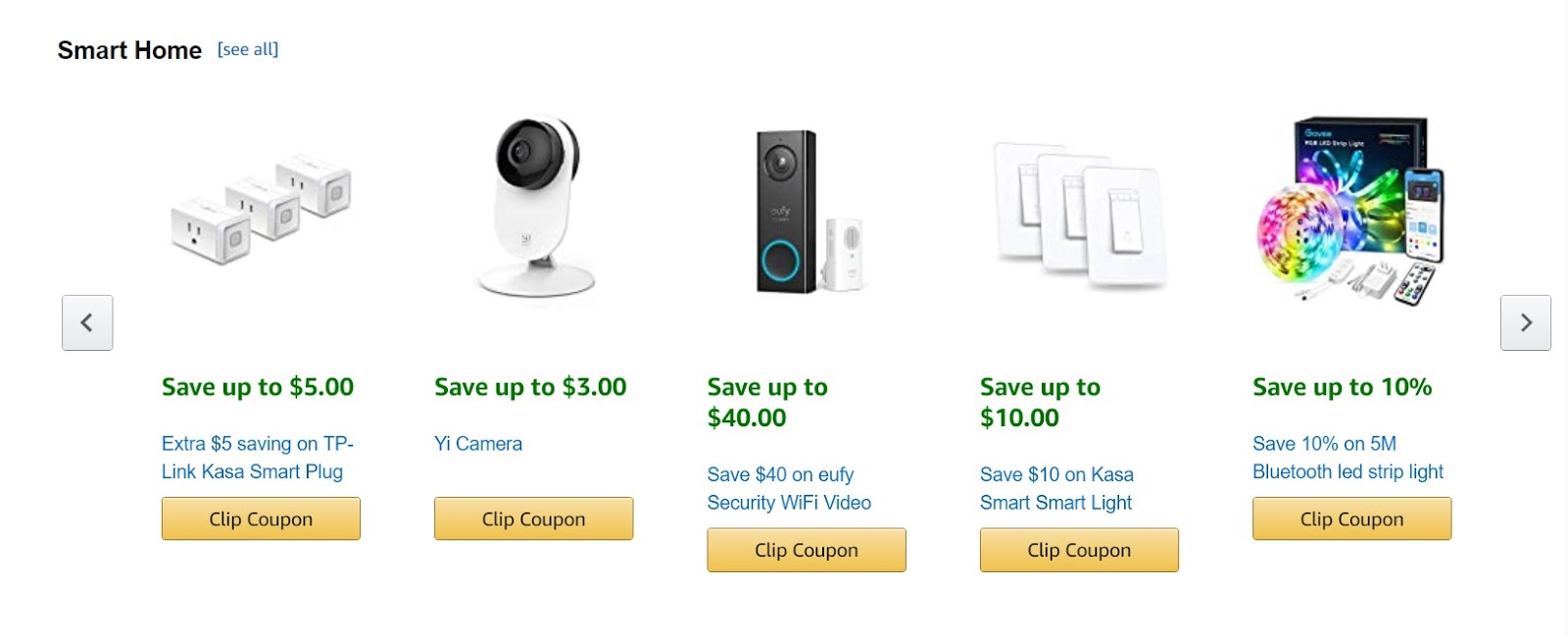 Купоны Amazon можно посмотреть прямо у них на сайте, где они поделены по категориям