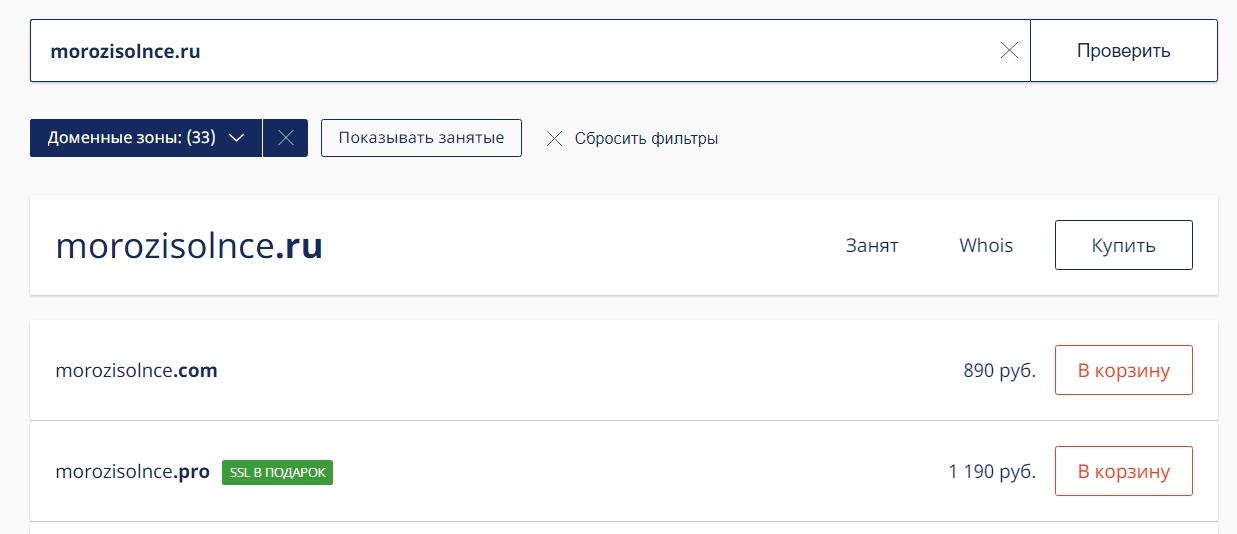 Пример проверки домена в сервисе nic.ru.