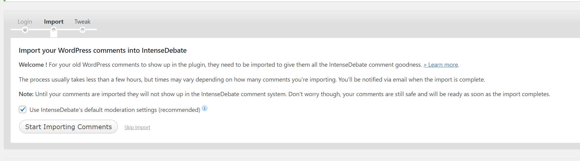 импортируем существующие комментарии
