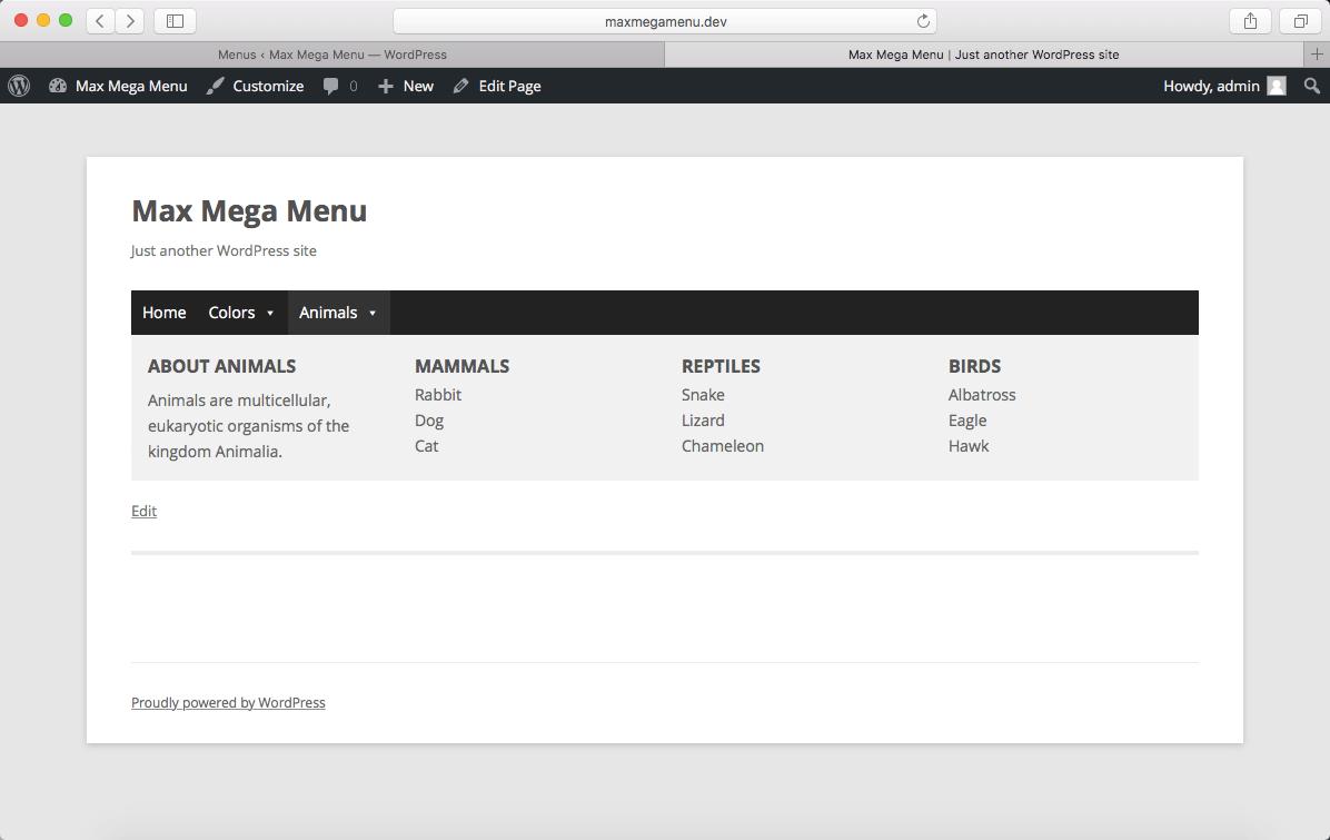 Плагин для WordPress Max Mega Menu