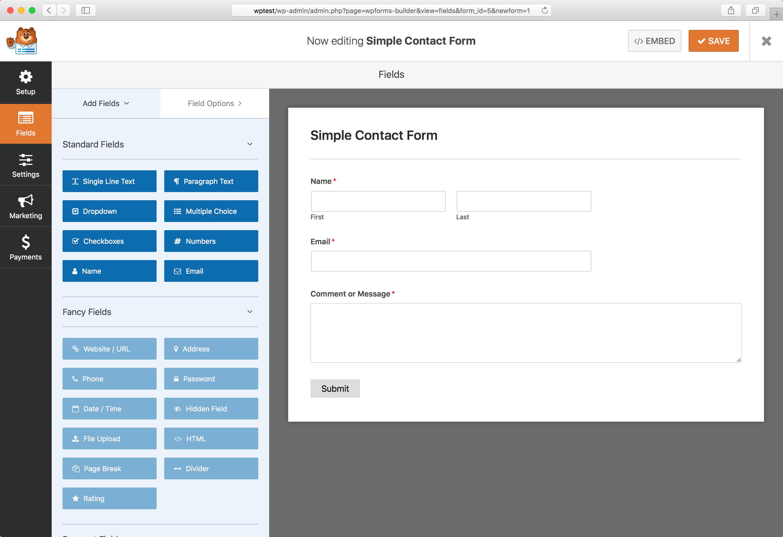 Плагин для WordPress WPForms