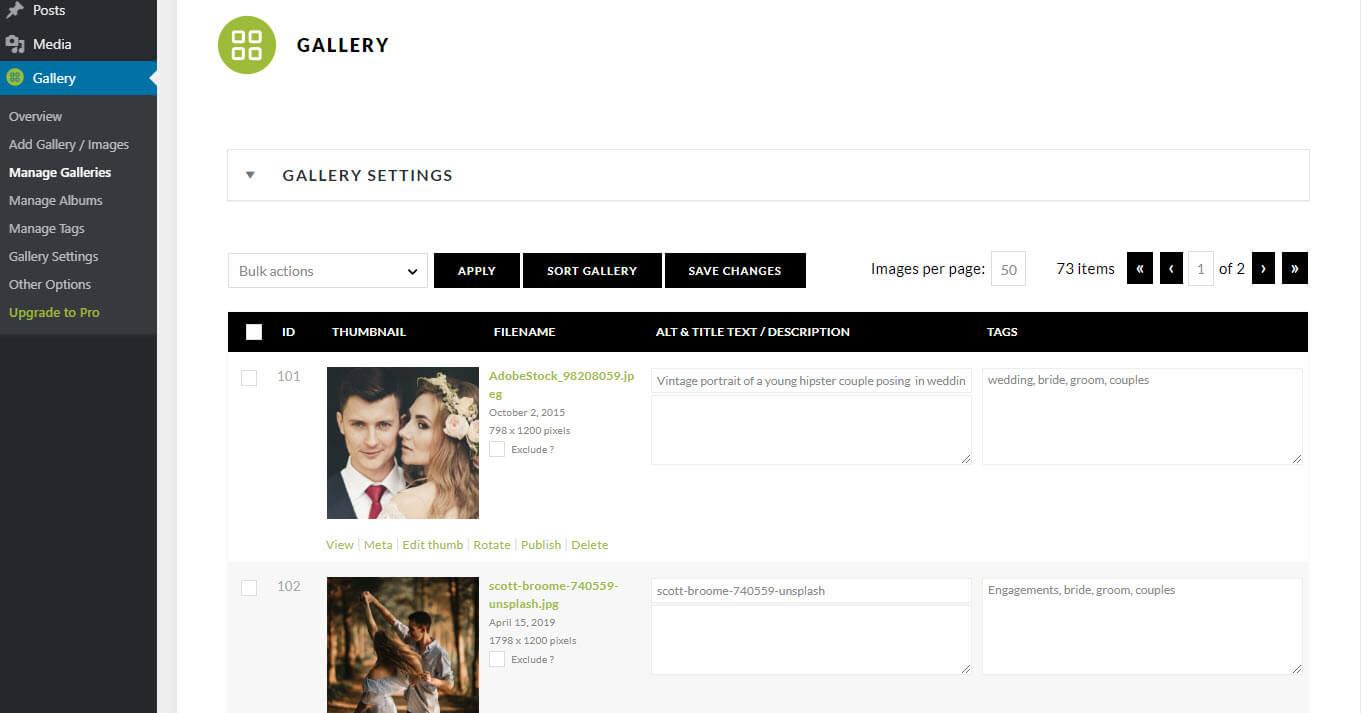 Плагин для WordPress NextGEN Gallery