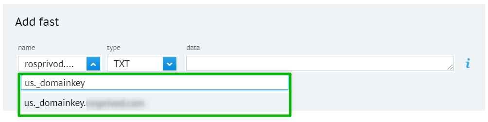 Adding DKIM record to the domain settings.