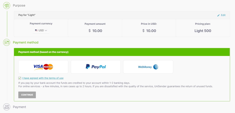 Choosing the payment method.