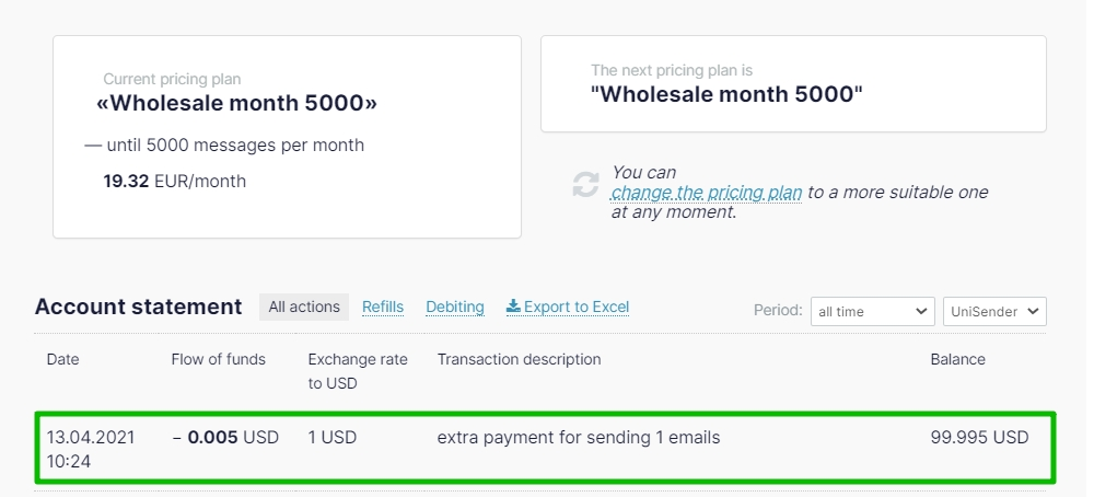 An example of payment deduction for 1 email sent over the limit within the Wholesale Plan.