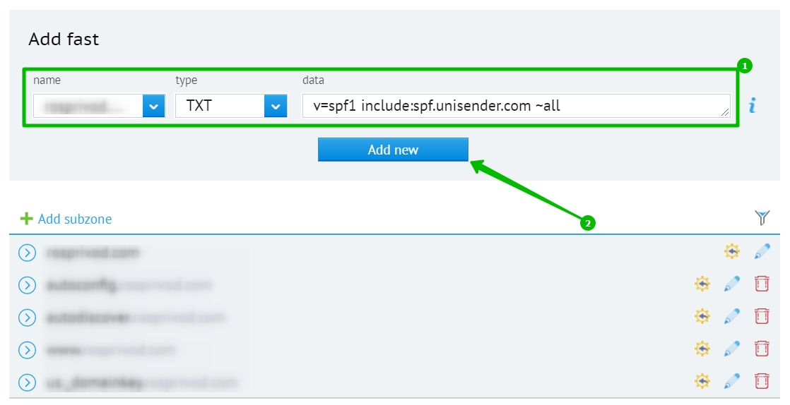 Adding the SPF record in the domain settings.