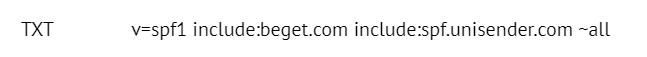 SPF-запись, указанная в настройках домена на хостинге