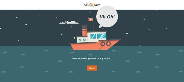Edukate использовали в качестве фона страницы ошибки изображение затерянного в море корабля
