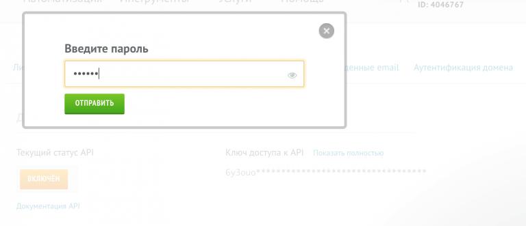 Вводим пароль для подключения настроек