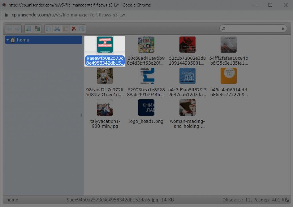 Выбор картинки в менеджере файлов