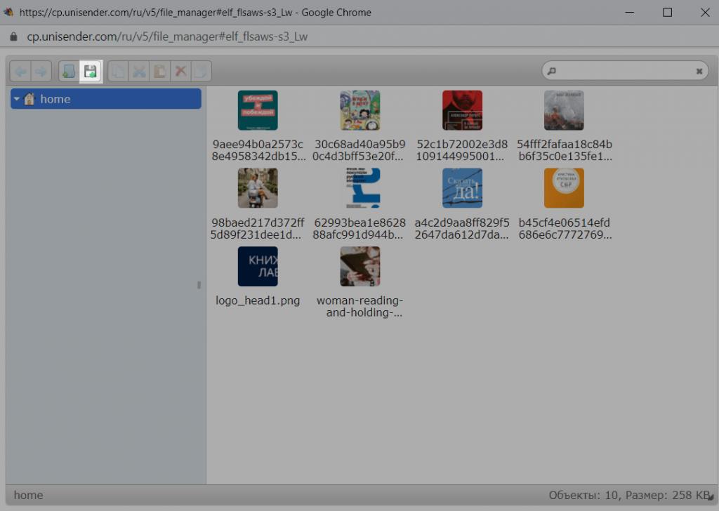 Кнопка с дискетой для загрузки картинки в менеджер файлов