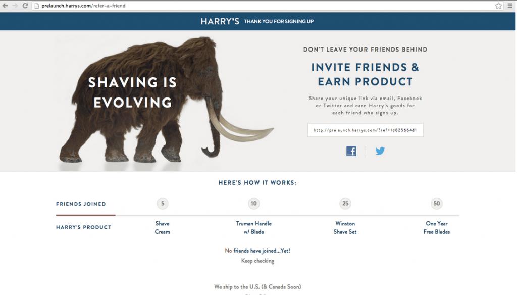 Страница реферальной программы Harry's
