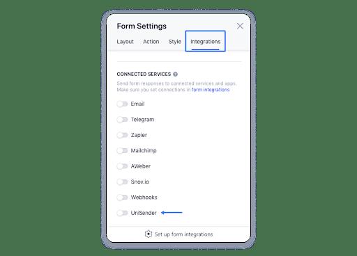 Включите опцию UniSender в кабинете Weblium