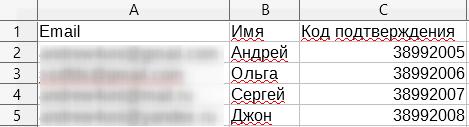 Поля в файле для импорта