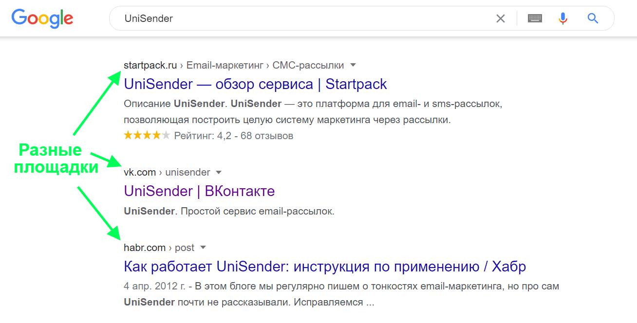 Наглядный пример контент-маркетинга в поисковой выдаче.