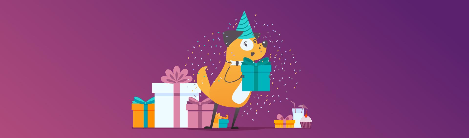 превью картинка собака на фоне подарков.
