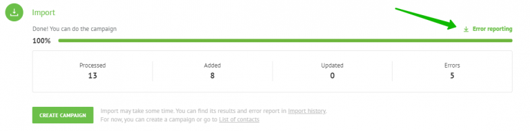 download the error report after importing contacts.