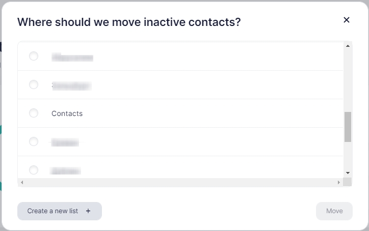 where to remove inactive contacts.