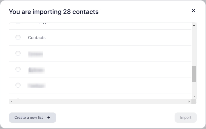 import of contacts.