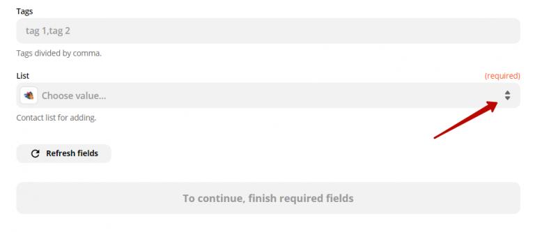 Выбор списка контактов в UniSender.