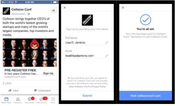 Сбор контактов в Facebook.