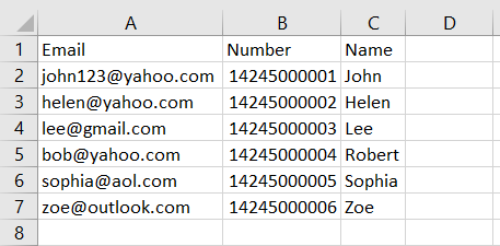 How does the document look like in Excel.