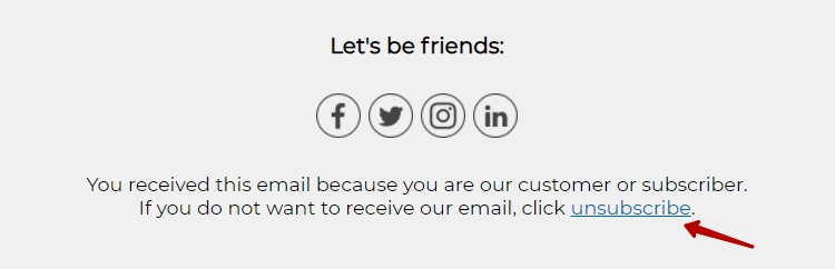 Example of an unsubscribe content block in an email