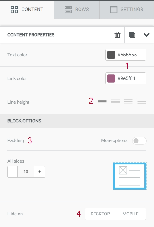 Header and Text blocks