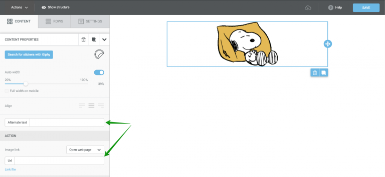 Inserting a link to the sticker and adding an alternative text