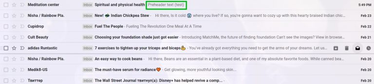 An example of an email preview without the first lines of text being pulled into the preheader line