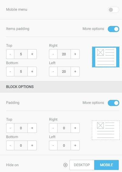 block in the mobile version