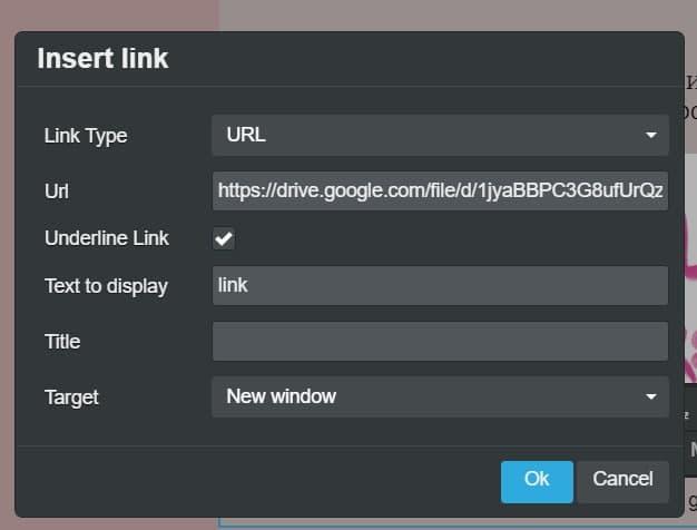 In the URL field