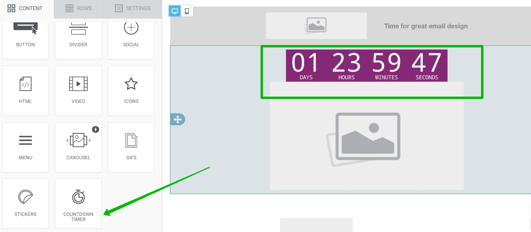 Unisender email builder blocks include a countdown timer.