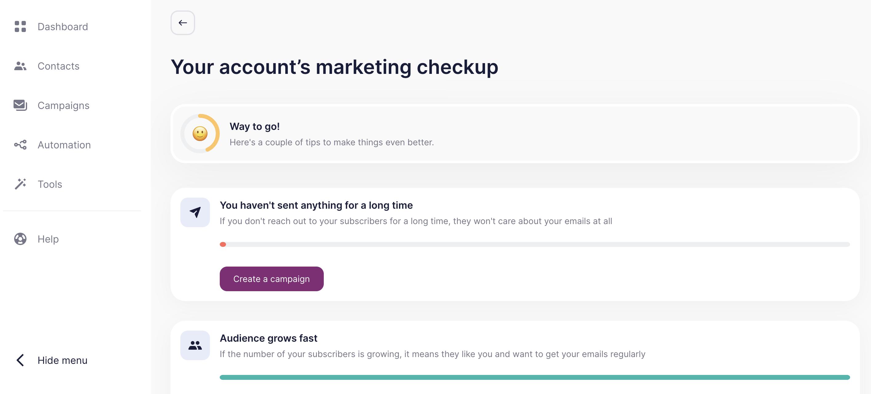 Unisender marketing checkup tool dashboard
