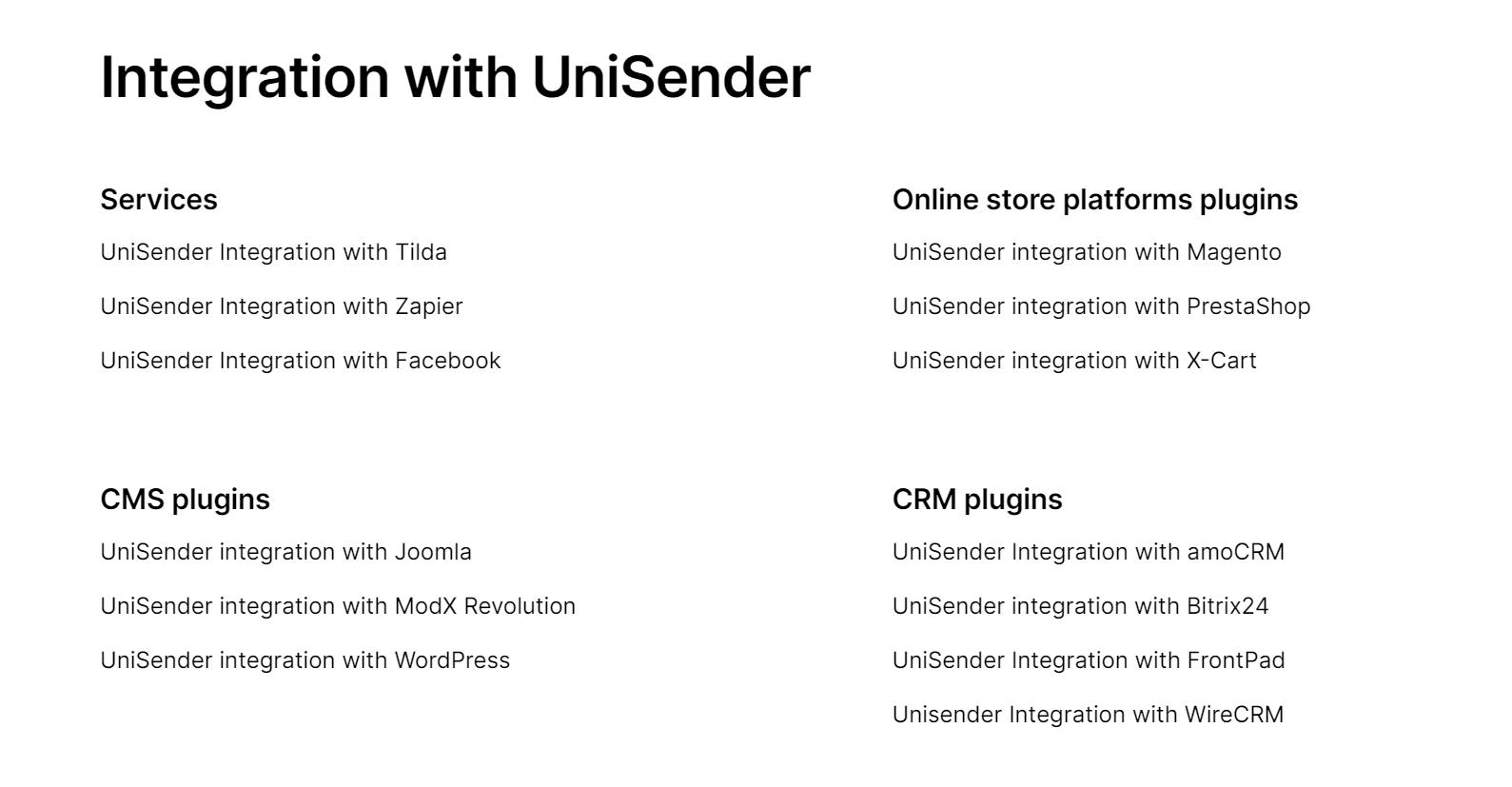 Unisender integrations possibilities.